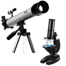 Kit Telescópio 120x+ Tripé De Alumínio + Microscópio 600x
