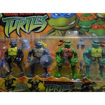 04 Bonecos Tartarugas Ninja Articulados Com 07 Acessorios