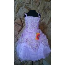 Vestido Infantil Princesa Flores Florista/festa Lilás