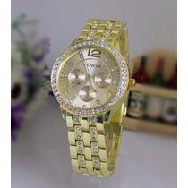 Relógio De Pulso Analógico Feminino Geneva Cor Dourado