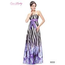 Vestido Longo Seda Com Estampas Modernas Festa Ever Pretty