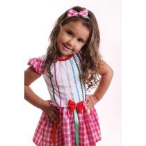 Vestido Caipira Bebe Xadrez Rosa 2