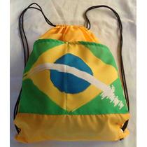 Mochila Tipo Saco Com Bolso Com Estampa Bandeira Do Brasil