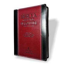 Bíblia Estudo Plenitude Couro Luxo P/jesus Verm.frete Grátis