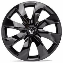 Jogo 4 Calota Aros 13 Prime Black Renault Clio C/ Emblema