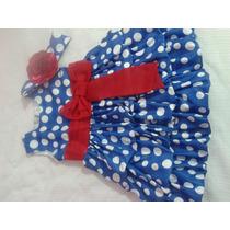 Vestido Azul Bolas Branca Balone Galinha Pintadinha