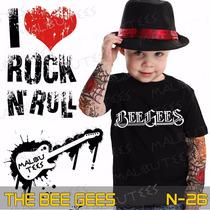 Camisetas The Bee Gees Infantil Preta Rock Roll Clássicos