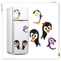 Adesivo Decorativo Geladeira Pinguim E Filhotes + Espatula