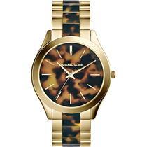 Relógio De Luxo Michael Kors Mk4284 Chron Anal Tortoise Ouro
