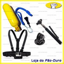 Kit Acessórios Para Gopro Suporte De Peito Bastão Flutuante