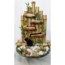 Fonte De Bambu Artesanal Feng Shui Ceramica E Pedra 5 Quedas