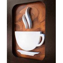 3 Quadros Decorativos Café Pintura Mdf Vazado Frete Grátis