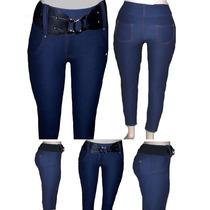 Calça Legging Cotton Jeans Com Passantes E Bolsos Traseiro