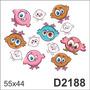 D2188 Adesivo Decorativo Coruja Olhos Grandes Pintinhos