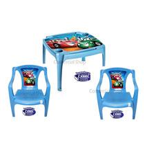 Jogo Mesa Infantil 2 Cadeira Azul Porta Copos Lápis Menino