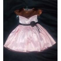 Vestido Festa Infantil Rosa E Marrom Princesa 4 - 5 Anos