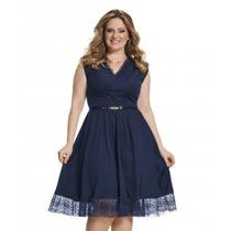 Moda Plus Size - Vestido Azul