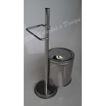 Papeleira De Chão Com Lixeira Em Inox Ideal P/ Lavabo