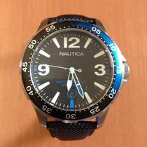 Relógio Nautica A12576g Aço Novo Pulseira Poliuretano Troco!