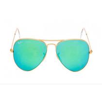 Oculos De Sol Aviador Verde Espelhado Rb 3026 62mm Original