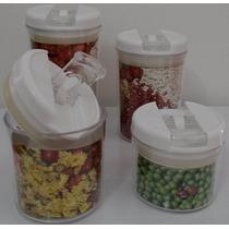 Kit 4 Potes Herméticos Redondos Em Acrílico E Tampas Brancas