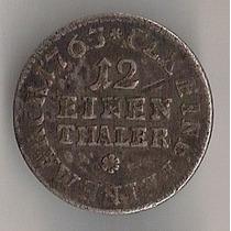 Alemanha/saxônia, 1/12 De Taler, 1763, Mbc+, Prata!