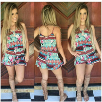 Macacão Curto Macaquinho Feminino Babado Moda Blogueira!