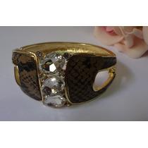 Pulseira Bracelete Couro Cobra E Pedras De Stras