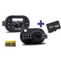 Câmera Filmadora Veicular Hd Dvr + Cartão Micro Sd 16 Gb