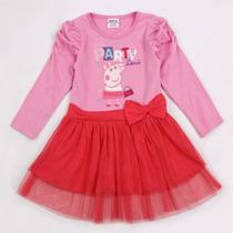 Vestido Peppa Pig Tutu Rosa/vermelho (pronta Entrega)