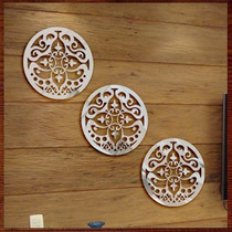 Quadro Escultura Parede Trio Mandalas Personalizadas Espelho