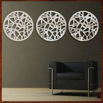 Quadro Escultura Parede Espelho Personalizado Trio Mandalas