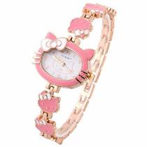 Relógio De Pulso Infantil Rosa Hello Kitty Pulseira Dourada