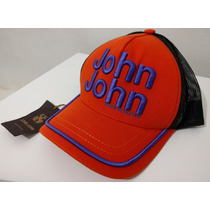 Boné John John Original Laranja Logo Bordado Em Roxo
