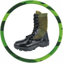 Coturno Padrão Exercito, Lona Verde Selva, Militar 100%couro