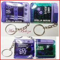 50 Mini Bíblia Mirim Chaveiro Com Cartão Personalizado