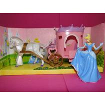 Princesa Cinderela 12cm E Carruagem 27cm Do Castelo Disney