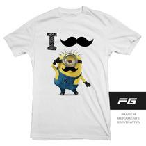 Camiseta Adulto Infantil Minions Engraçada I Mustache Bigode