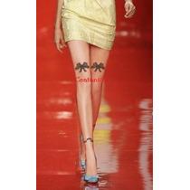 Meia Calça Fio 20 Detalhe Laço De Fita Tatuada Estilo 7/8