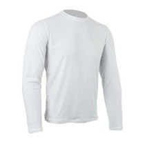 Camiseta Basica Malha Fria Mangá Longa Branca