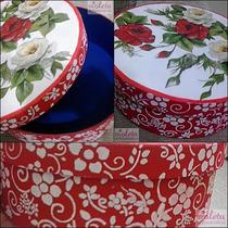 Caixa Mdf Decorada Redonda Vermelha Com Arabescos E Rosas