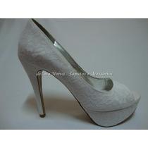 Sapato Peep Toe Pronta Renda Branca Pronta Entrega