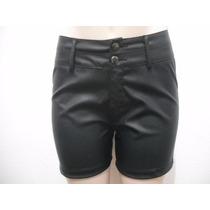 Shorts Preto Couro Sintético Tam 38 Usado Bom Estado