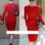 Vestidos Nova Moda  Vermelho / Preto  Cotton Celebridade
