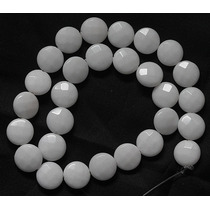 Jade Branco Fio 40cm Disco Redond Facetad 14mm Teostone 1960