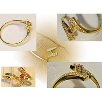 Anel Ouro Amarelo 18k Brilhantes (diamantes) E Rubi Natural