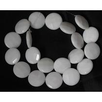 Jade Branco Fio 40cm Disco Redondo Facetad 20mm Teostone 741