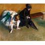Bailarina E Senhora Esperando Pintor Degas Repro Na Tela