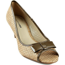 Sapato Peep Toe Emporio Naka Bege Marrom Laço Couro 37 38