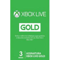 Xbox Live Gold 3 Meses Microsoft - Envio Imediato
